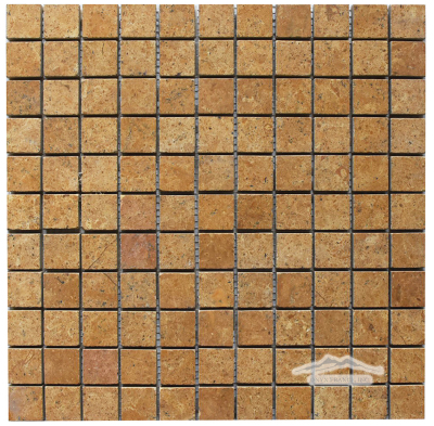 "Gold Pompeii Limestone 1"" x 1"" Mosaic Honed"