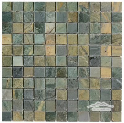"Green Fantasia/Green Royal Blue Marble  1"" x 1"" Mosaic Polished"