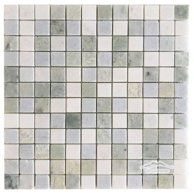 "1"" x 1"" Blend in: Thassos, Ming Green, & Blue Celeste Mosaic Polished"