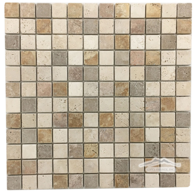 "Multicolor 1"" x 1"": Durango, Noce, Golden Rustic Travertine Mosaic Tumbled"