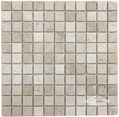 "Pearl Travertine 1"" x 1"" Mosaic Tumbled"