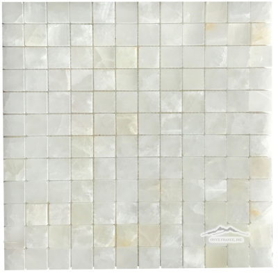 "White Persian Cloud PREMIUM Onyx 1"" x 1"" Mosaic Polished"