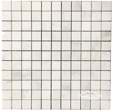 "1"" x 1"" White Statuary Calacatta Marbe Mosaic Polished"