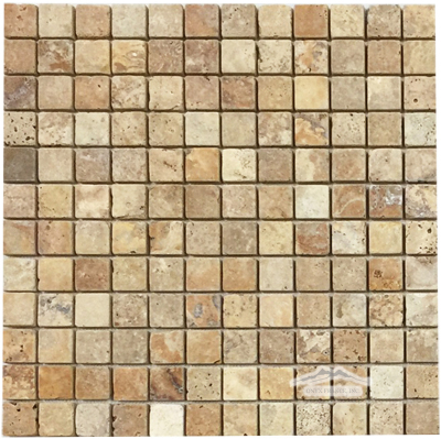 "Golden Antique Travertine 1"" x 1"" Mosaic Tumbled"