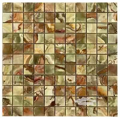 "Green Pistachio Multicolor Onyx 1"" x 1"" Mosaic Polished"