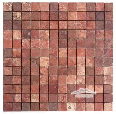 "Persian Red Travertine 1"" x 1"" Mosaic Honed"