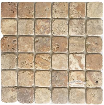 "Golden Antique Travertine 2"" x 2"" Mosaic Tumbled"