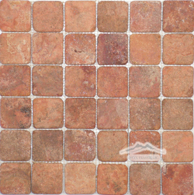 "Peach/ Red Mexican Travertine 2"" x 2"" Mosaic Tumbled"