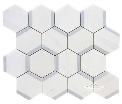 Honeycomb Hexagon 3. White Elegant Marble Honed w/ Blue Bliss Polished