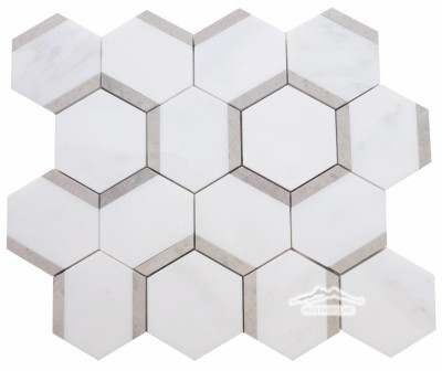 "Honeycomb 3"" Hexagon 2. White Statuary Calacatta Marble with Ash Grey Limestone Honed"
