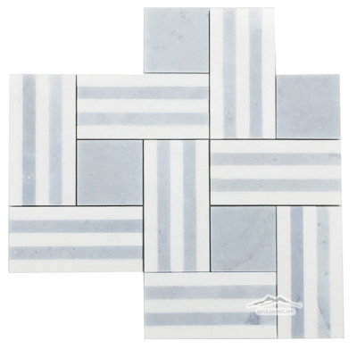 "Remy Stripe 2: Blue Bliss & White Thassos Marble Mosaic Polished (12"" x 9 5/8"" = .80 SF/SHT)"