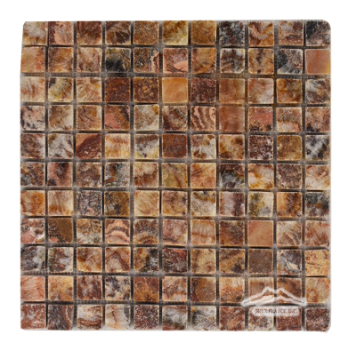 "Red Sea Onyx 1"" x 1"" Mosaic Tumbled"