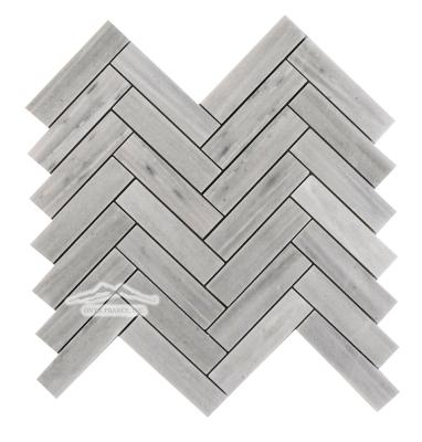 """Greige Elegant Marble Herringbone 1"""" x 4"""" Mosaic Polished"""