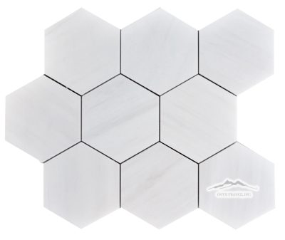 "White Elegant SELECT 5"" Hexagon Mesh-Mounted Mosaic Honed"