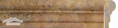 Peach Travertine Grande Ogee: 2-1/2'' x 1-1/8'' x 12'' Molding Honed