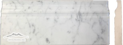 "White Carrara Venatino (PREMIUM) Marble 5"" x 12"" x 3/4"" Base Molding Honed & Polished"