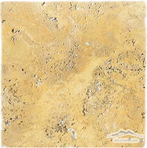 "Golden Antique Travertine 12"" x 12"" Antique Brushed"