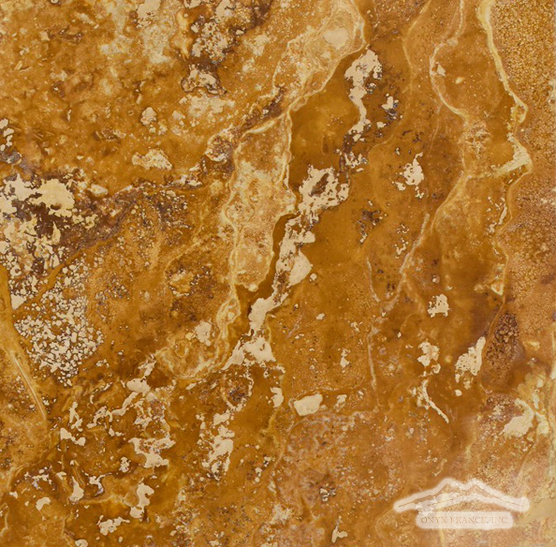 "Golden Rustic Travertine 12"" x 12"" Polished & Honed"