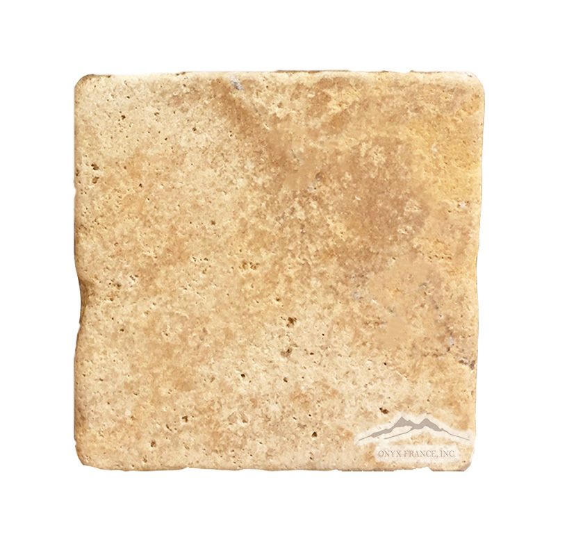 "Golden Antique Travertine 6"" x 6"" Tumbled"