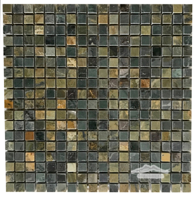 "Green Fantasia/Green Royal Blue Marble  5/8"" x 5/8"" Mosaic Polished"