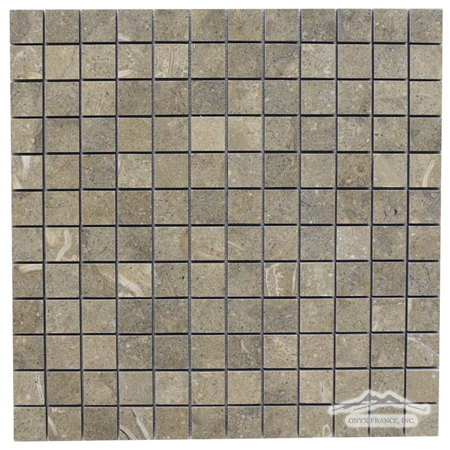 "Olive Green Limestone 1"" x 1"" Mosaic Honed"
