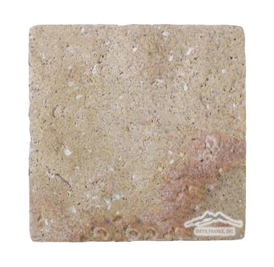 """Sunstone (Orro Rosso) Limestone 8"""" x 8"""" Tile Tumbled"""