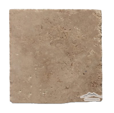 "Noce Travertine 8"" x 8"" Brushed, Cobbled, & Unfilled"