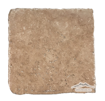 "Noce Travertine 8"" x 8"" Cobbled, Honed, & Unfilled"