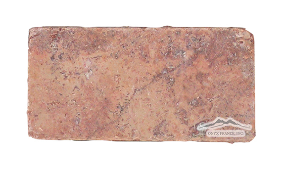 "Red Mexican Travertine 3"" x 6"" Tile: Tumbled"