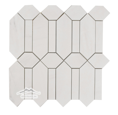 White Elegant Marble Oxford Mosaic Honed