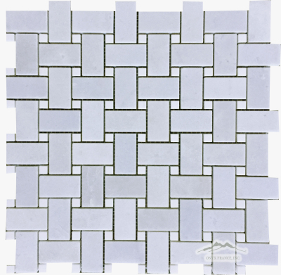 "Blue Bliss 1"" x 2"" Basketweave with 3/8"" White Elegant Marble Dot Polished"