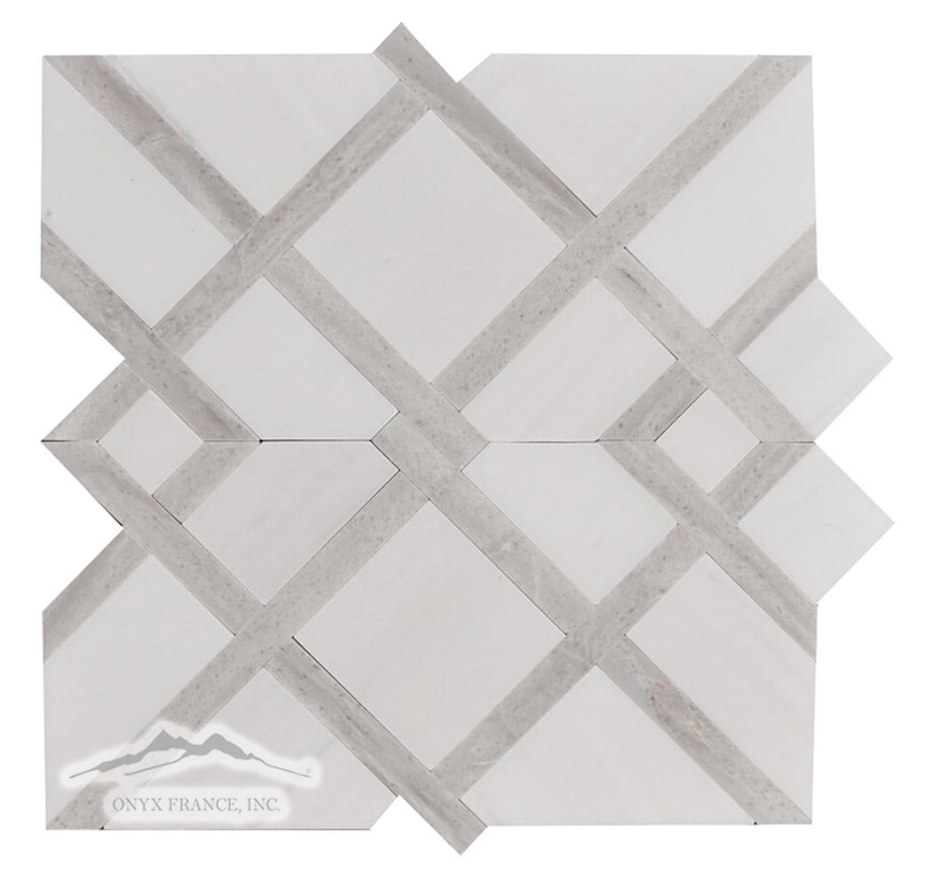 Shiraz 2. White Elegant Honed w/ Greige Elegant Polished