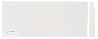 White Thassos 5'' x 12'' Plaza Base Molding Polished