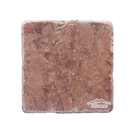 "Rosa Verona Marble 4"" x 4"" Tumbled (low stock, inquire)"