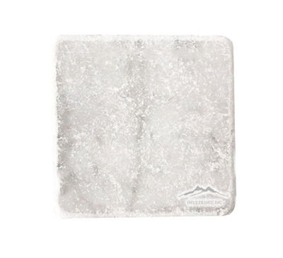 "White Carrara Venatino PREMIUM Marble  4"" x 4"" Tile Tumbled"