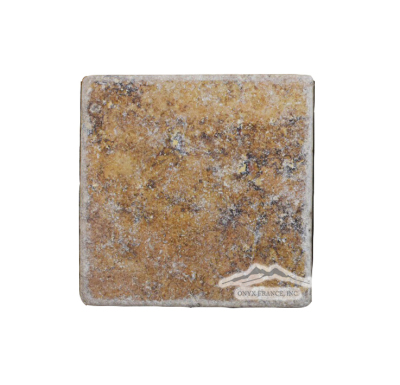 "Peach Travertine 4"" x 4"" Tile Tumbled"