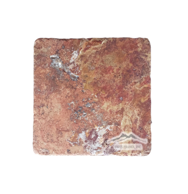 "Red Mexican Travertine 4"" x 4"" Tile: Tumbled"
