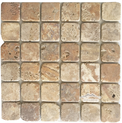 "Golden Antique Travertine 2"" x 2"" Mosaic Tumbled"