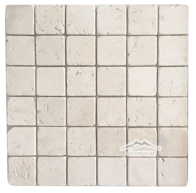 "Pearl Travertine 2"" x 2"" Mosaic Tumbled"
