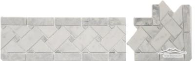 #31WG Basketweave Border: White Carrara  Venatino and Grey Mist Honed