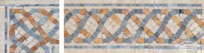 "Border: #24 Serpentine 4-5/8"" x 12"" Cream Marfil, Blue Saveh, & Gold Travertine"
