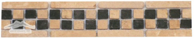 "Border #4B: Checkerboard:2-¾""x 12""  Durango & Black Tumbled"