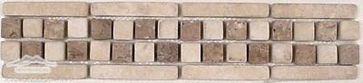 Border #4N: Checkerboard Design: 2-3/4' 'x 12'' Durango/Noce Tumbled