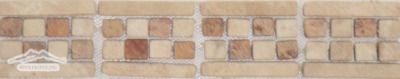 Border #4P: Checkerboard Design: 2-3/4' 'x 12'' Durango/Peach Tumbled