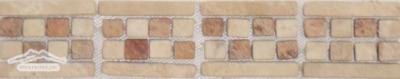 Border #4P: Checkerboard Design: 2-3/4' 'x 12'' Durango/Peach Tumbled