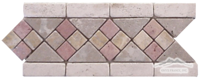 "Border #8:  4-5/8"" x 12"" Persian Red, Pearl, Persian Gold & Noce Travertine Tumbled"
