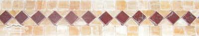 "Border #9R-2: 2"" x 12"" Golden Honey Onyx & Maroon Marble"