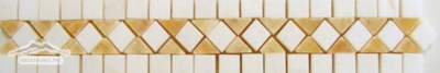 "Border & Corner #9W: Golden Honey & White Thassos 2"" x 12"" Polished"