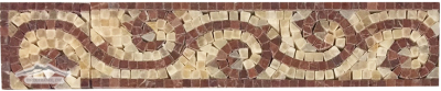 """Border #16R: Scroll Design: 3""""x12"""" Golden Honey Onyx and Maroon Marble Polished"""
