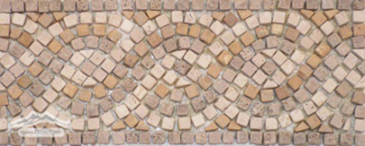 "Border & Corner #17 Braid Design: 4-3/4"" x 12"" Pearl (Chiaro), Noce & Gold Travertine Border Tumbled"